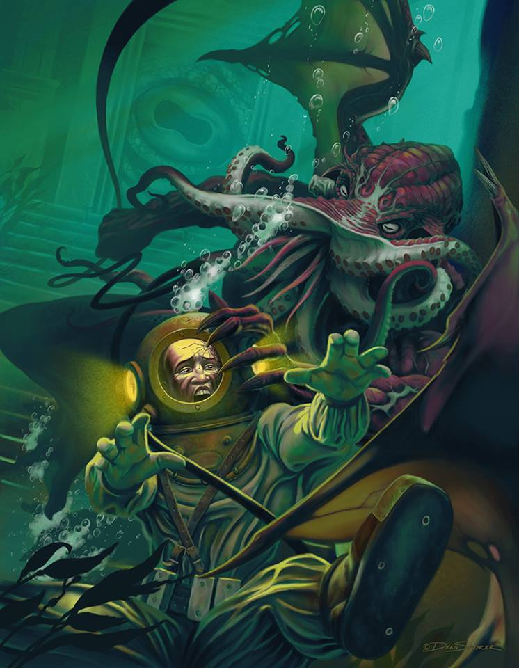 🦑Have you seen this man? He was last seen answering a personal ad from the Innsmouth Gazette. Rare, underwater security footage reveals the excitement in his expression at their meeting. Find yours too in the Innsmouth Gazette!🎨Dean Spencer🦑#Lovecraft #Innsmouth #Personals