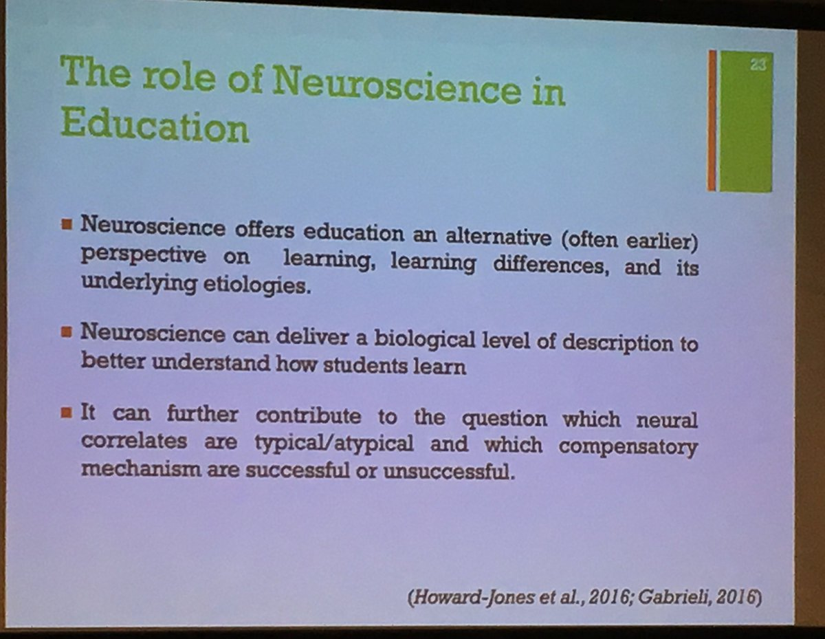 Just a few of the reasons why neuroscience has a place in education; via @GaabLab at #SSSR2019:<br>http://pic.twitter.com/JVohgRDktk