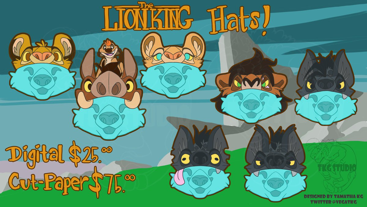 Yes, I am obsessed with TLK, join me!   Lion King Hats!  -Digital icons/badges $25 -Cut-Paper $75 (includes a digital file version) (Stitch Hats for examples of cut-paper versions)  Order form:  https:// forms.gle/eowhCWP2njQXwu Qx8  … <br>http://pic.twitter.com/MKHyQoSCNc