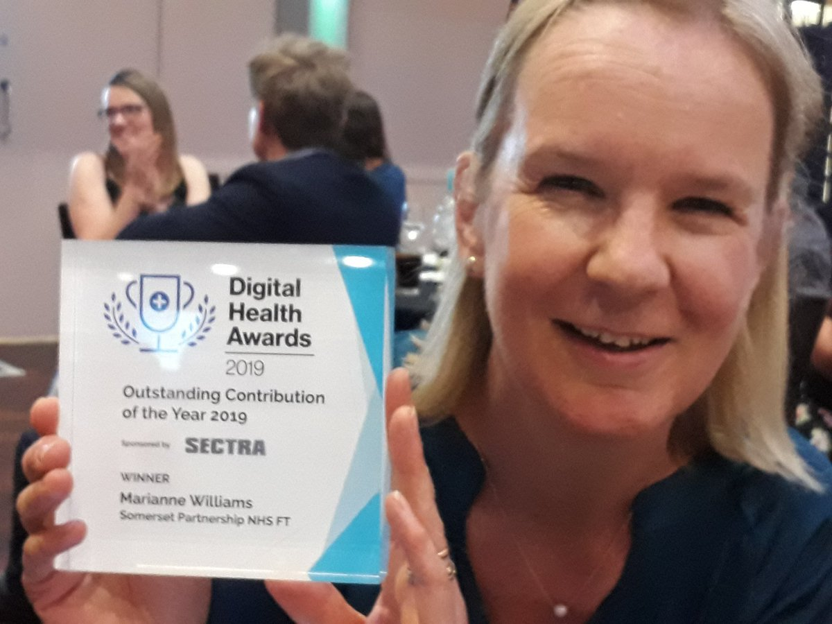 So incredibly proud +% owe this to my NHS Digital mentor,  @jemlwilkinson + our incredible Somerset community #AHP dietetic team led by awesome manager Yvonne Barclay & big  to everyone who voted for me @SomParNHS @somersetahps @PeterLewis45 @hayleypeters  @SuzanneRastrick<br>http://pic.twitter.com/Fb8XcHgWIf