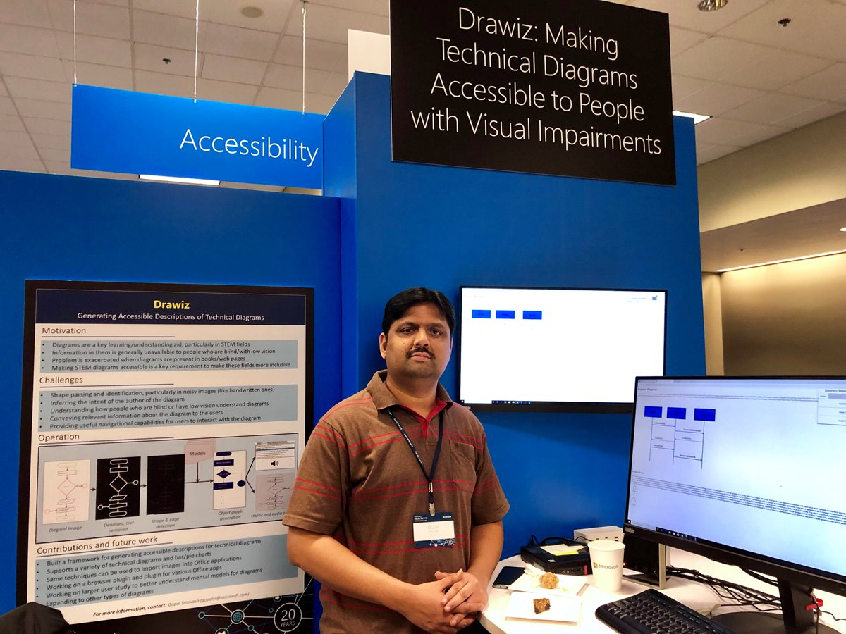 """Our goal is to make it easier for people who are blind or low vision to understand technical diagrams the same way sighted users understand them."" -Gopal Srinivasa shares his #Accessibility project, Drawiz, at #MSFTFacSumm Technology Showcase."