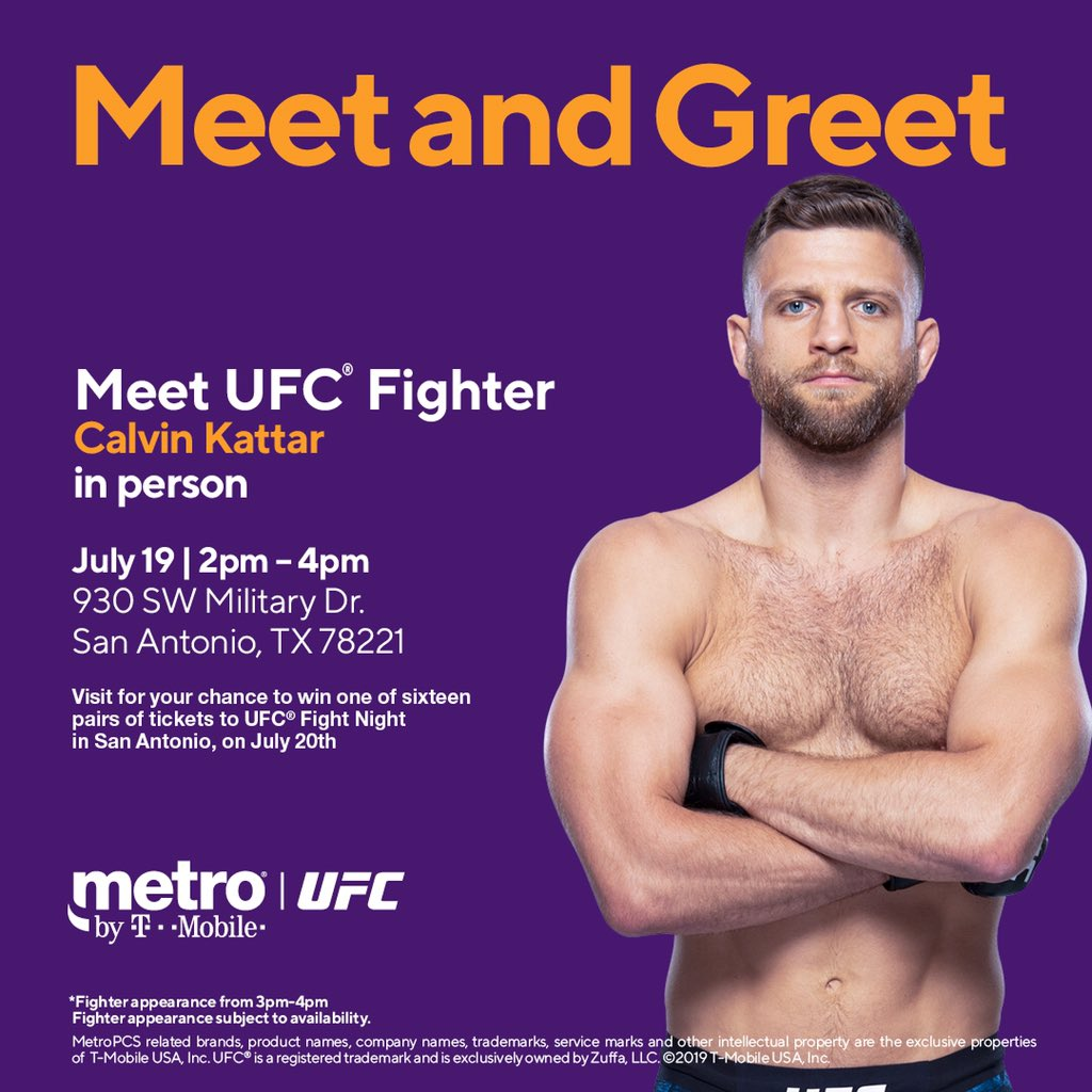 Hey San Antonio! See you guys tomorrow @MetroByTMobile (930 SW Military Dr) at 3:00pm and you could win #UFCSanAntonio tickets 👊🏽