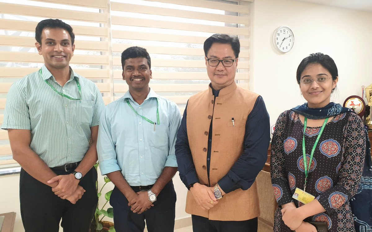 3 promising young IAS officers Saurabh Sonawane, Sukhaputra N O & Surabhi Gautam are attached to my Ministry of Youth Affairs & Sports as Assistant Secretaries. It's a unique initiative started by Govt to groom bureaucrats before they move out to their respective State cadres.