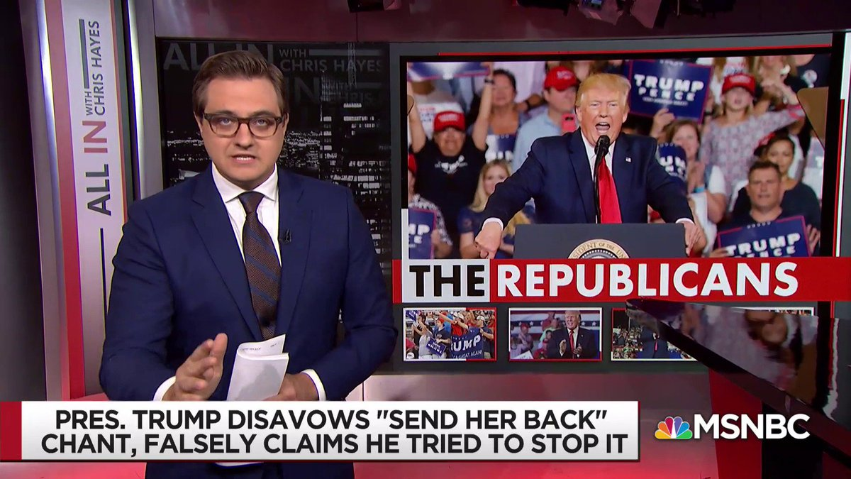 "WATCH: @chrislhayes on the ""Send her back!"" chants: ""The people who feel moral revulsion at that display last night must collectively mobilize in greater numbers than the chanters."" #inners"