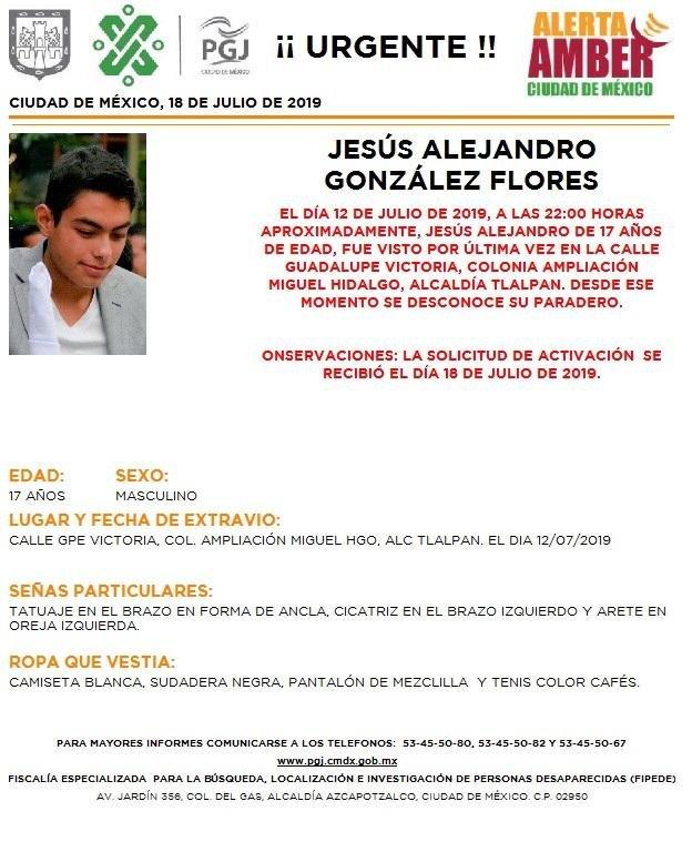 Se activa #AlertaAmber para localizar a Jesús Alejandro González Flores, fue visto por última vez en la colonia Ampliación Miguel Hidalgo, alcaldía #Tlalpan
