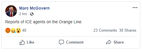 "Cambridge's Mayor posted on Facebook around 7:15 tonight: ""Reports of ICE agents on the Orange Line."" #Boston25 <br>http://pic.twitter.com/bVlMfpo7HE"