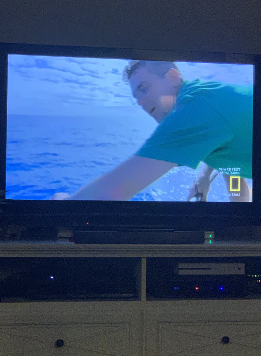 Watching a high school classmate @whereisjoemerch on Forecast:Shark Attack on National Geographic Channel's #sharkfest  Very cool! <br>http://pic.twitter.com/8iYT8OIi7Y