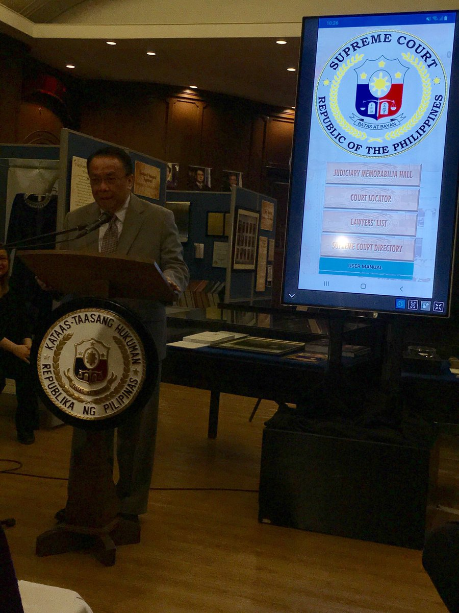 NOW HAPPENING: Chief Justice Lucas P. Bersamin leads launching of SC App, a downloable program for smartphones and tablets, with 4 features - Judiciary Memorabilia Hall, Court Locator, Lawyers' List, and SC Directory. #SCApp<br>http://pic.twitter.com/A3HUVWaV6U