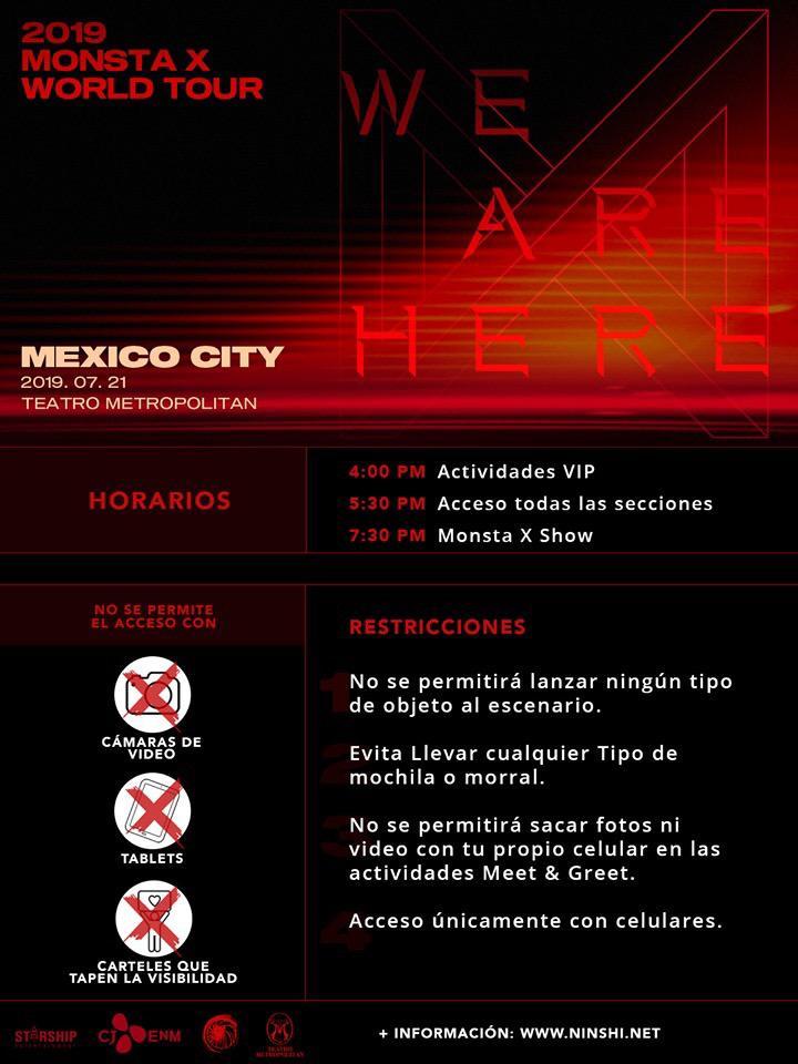 Aquí la info para disfrutar este domingo 21-Jul a @OfficialMonstaX vía @Acaninshi !  Adicional, no podrán ingresar: Banners y Uchiwas (de ningún tipo) Lásers Paraguas con punta metálica Pilas alcalinas extras Luces Químicas Duras Regalos iPads, Selfiesticks  #WE_ARE_HERE_MX