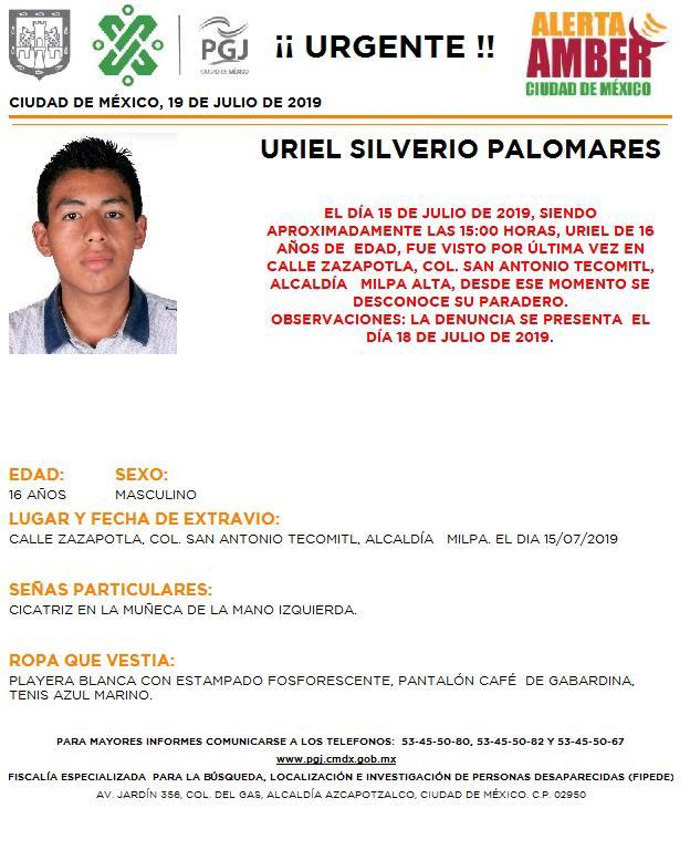 Se activa #AlertaAmber para localizar a Uriel Silverio Palomares, fue visto por última vez en la colonia San Antonio Tecomitl, alcaldía #MilpaAlta