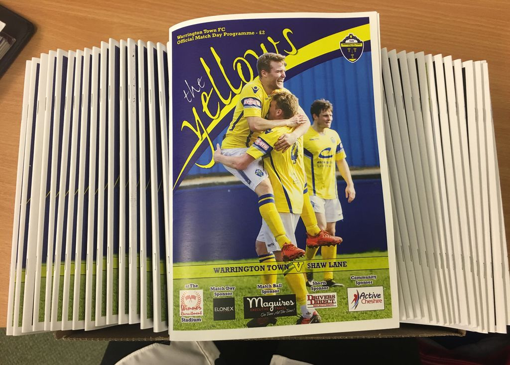Tonight's @theyellows v @SLAquaFC programmes hot off the press from @warringtonworld (literally!!) Pick your copy up just inside the turnstile  KO 19:45  #EvoStikLeague #promotion #Warrington #ToInfinityandBeyond #ambition <br>http://pic.twitter.com/hxcBKGcOK1