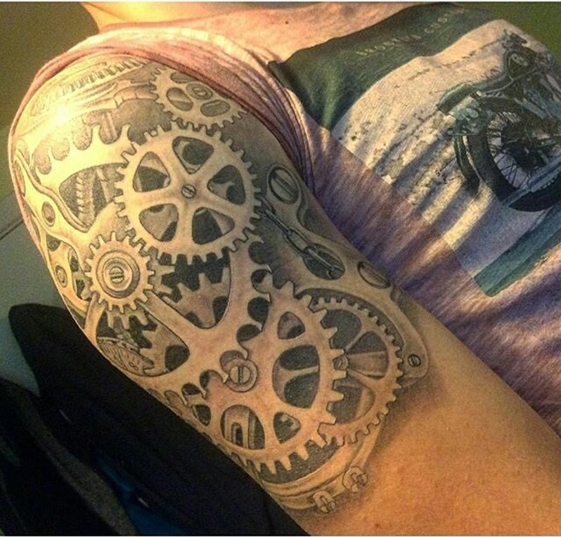 #Tattoo Awesome of the Day: #Steampunk Huge Cogs Mechanism Arm Piece via @steampunkjnkies #SamaTattoo