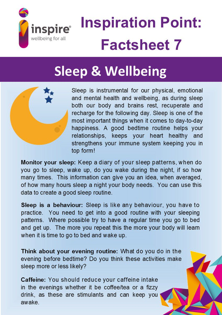 "inspire on twitter: ""our new factsheet is out. 'sleep & wellbeing"