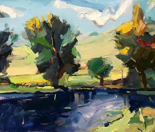 """Nothing like the late #afternoon when the #light flows over the land like golden honey... """"Yarra Valley Autumn"""", 61X75cm. #creative #inspiration #artoftheday<br>http://pic.twitter.com/RKgtwyQuoY"""