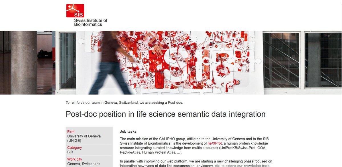 Please RT We're hiring! #postdoc #position #Bioinformatics #SemanticWeb @ISBSIB @unige_en https://t.co/jJdPEbWsSY https://t.co/fBH5blCDjG