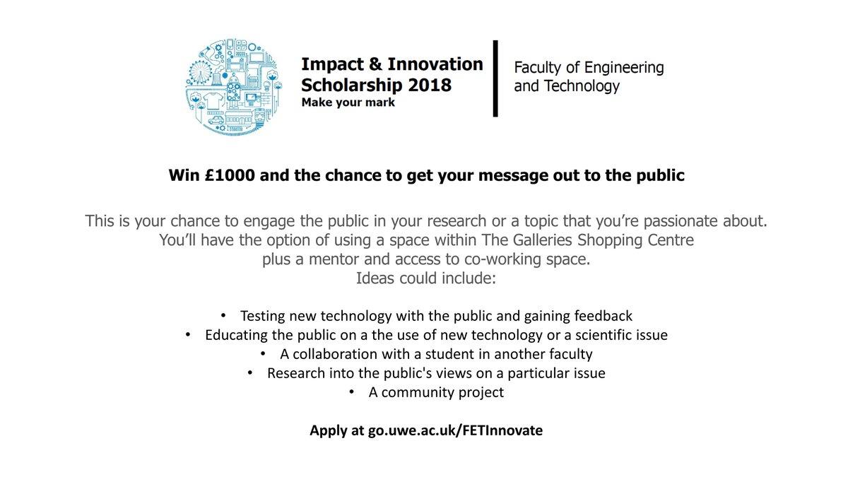 a4cd29c703 ... ideas to life with an Impact   Innovation Scholarship. Apply at  http   go.uwe.ac.uk FETInnovate . Please RT   EngineeringUWE   UWE MathsStats  UWE Design ...