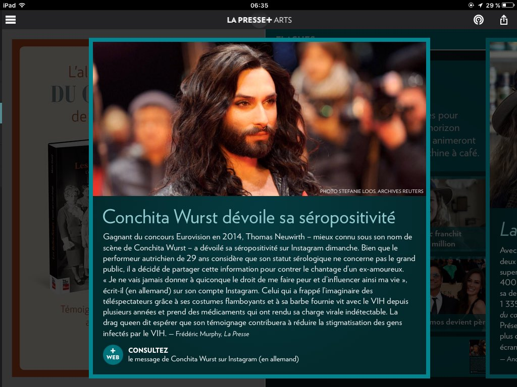 Le courage de Conchita dans mon journal quotidien ce matin. /  Conchita&#39;s courage in my newspaper this morning.   #Conchita #ConchitaWurst #theunstoppables <br>http://pic.twitter.com/CyC3AVQ9yw