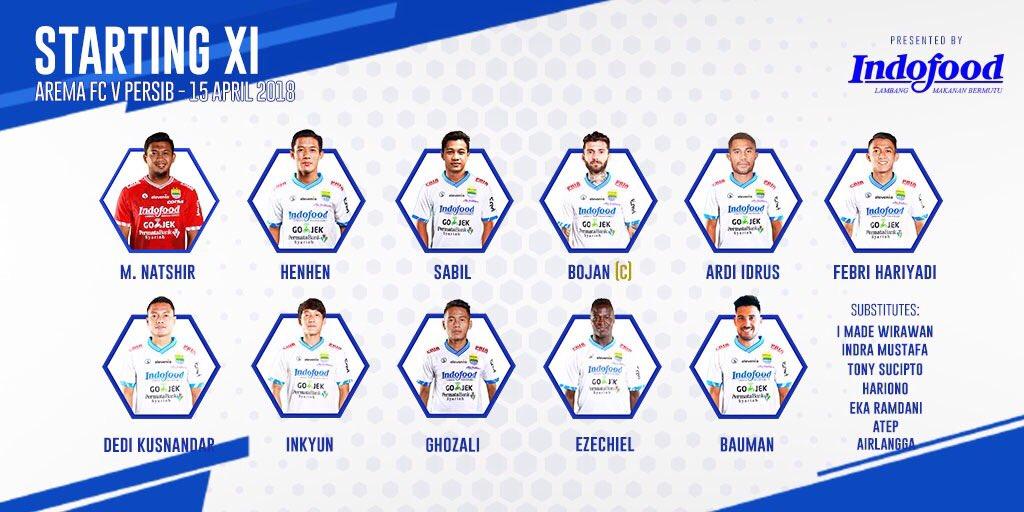 Starting XI Persib kontra Arema, via twitter @persib