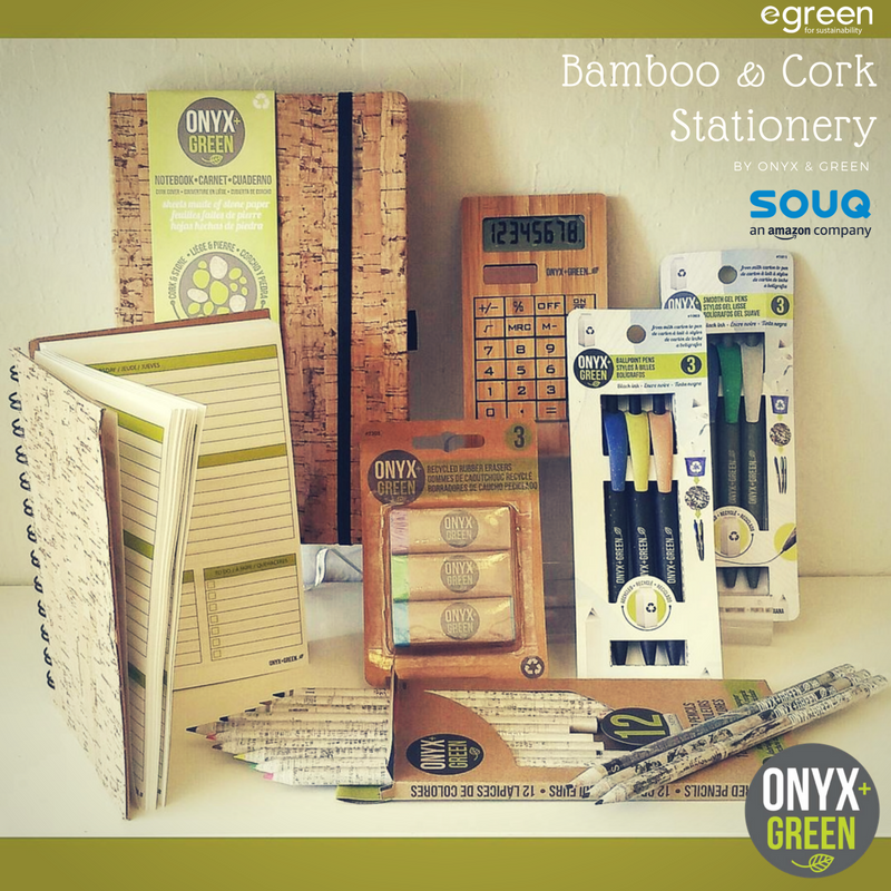 Get a complete set of biodegradable stationery and notebooks from #egreenAE. From recycled newspaper pencils to cork covered #journals, everything is available on the EGreen @souq store  @OnyxandGreen #sustainablelifestyle #dubai #uae<br>http://pic.twitter.com/8W95DwfDEr