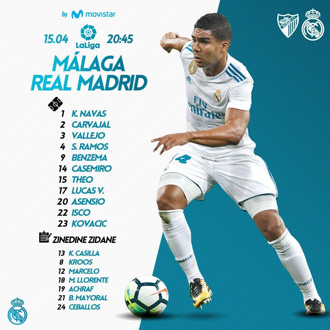�� Tonight's starting XI to face @MalagaCF_en! #RMMovistar https://t.co/UNVKWOiCBw