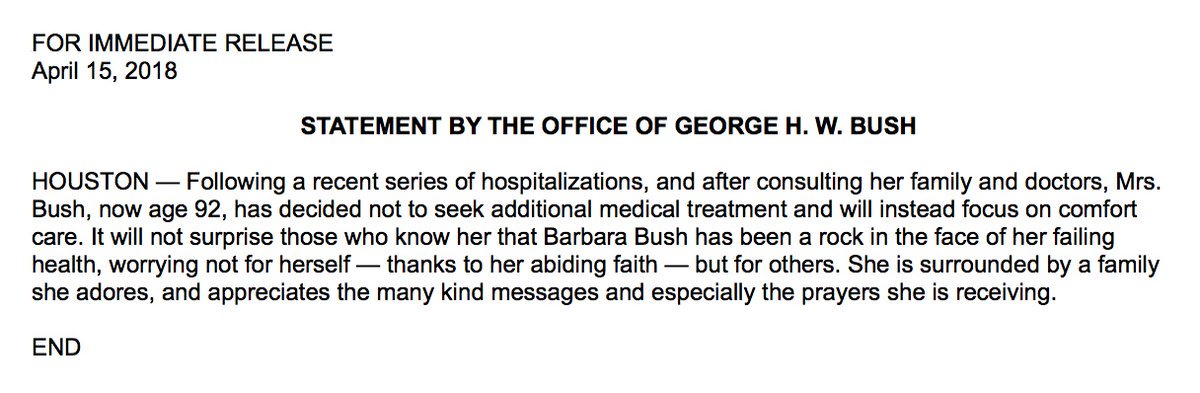 JUST IN: Barbara Bush will not seek additional medical treatment and will focus on comfort care for failing health, according to statement from the office of George H.W. Bush.
