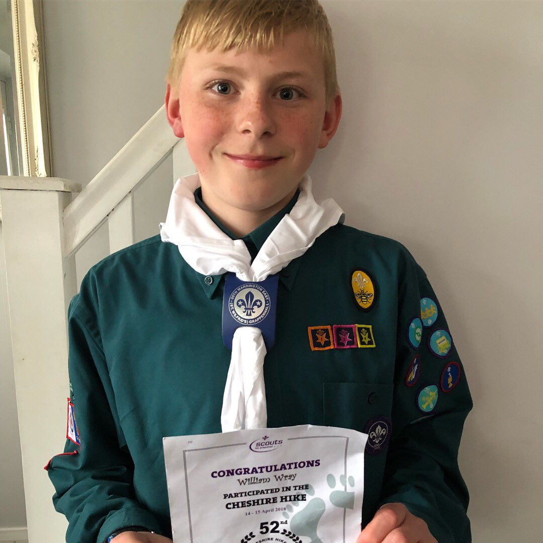 Very proud of this young man. He's hiked 19km, set up his own tent, camped overnight, cooked his own food, then the next day walked another 12km the next day....  #CheshireHike2018 @CheshireHike #scout #CheshireScouts<br>http://pic.twitter.com/kyWmtmxhyw