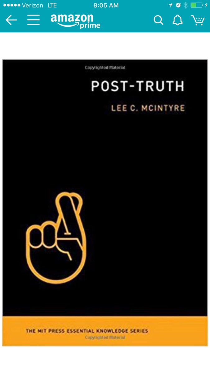 JUST ORDERED:   MIT KNOWLEDGE SERIES   #PostTruth    &quot;Lee McIntyre traces the development of the post-truth phenomenon from science denial through the rise of &quot;fake news,&quot; from our psychological blind spots to the public&#39;s retreat into &quot;information silos.&quot; <br>http://pic.twitter.com/Z8RW0770KI