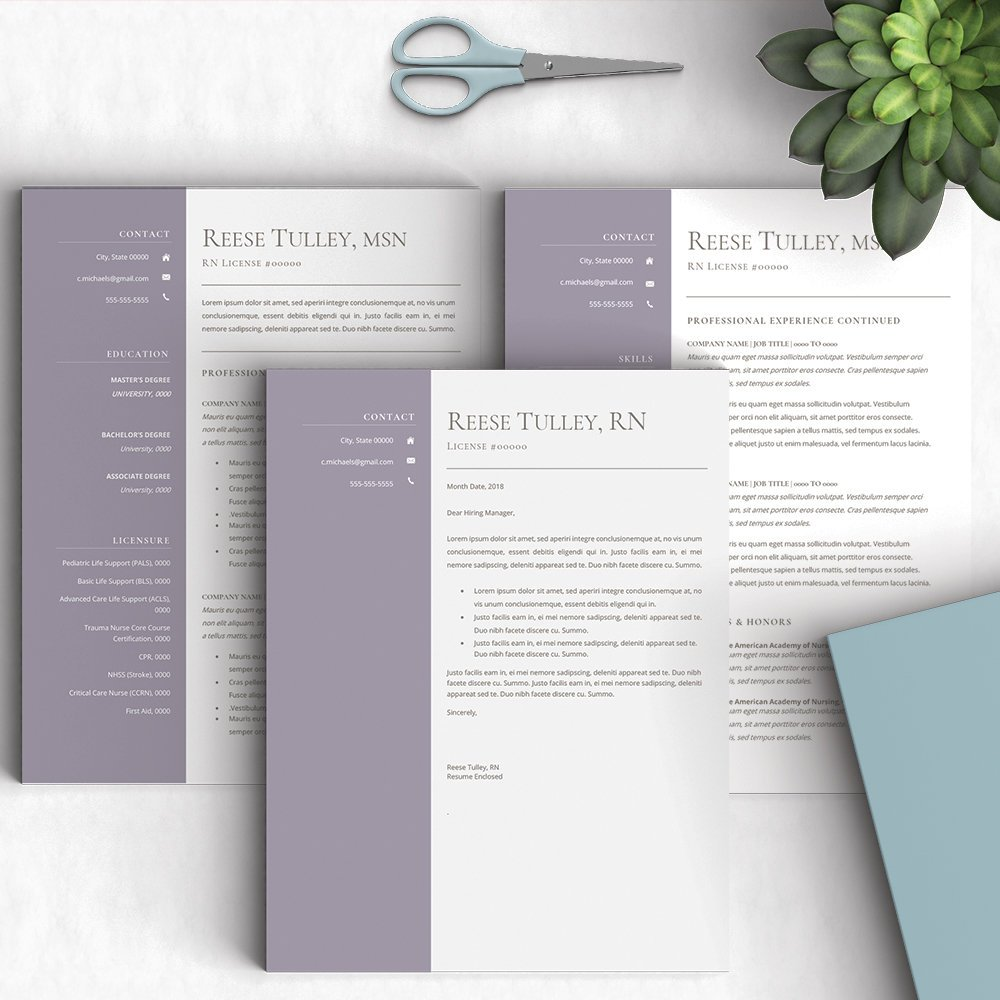 1 And 2 Page Resume ATS Passable Instant Download Etsyme 2HosRM8 Everythingelse Graphicdesign Purple Graduation White Nursingresume