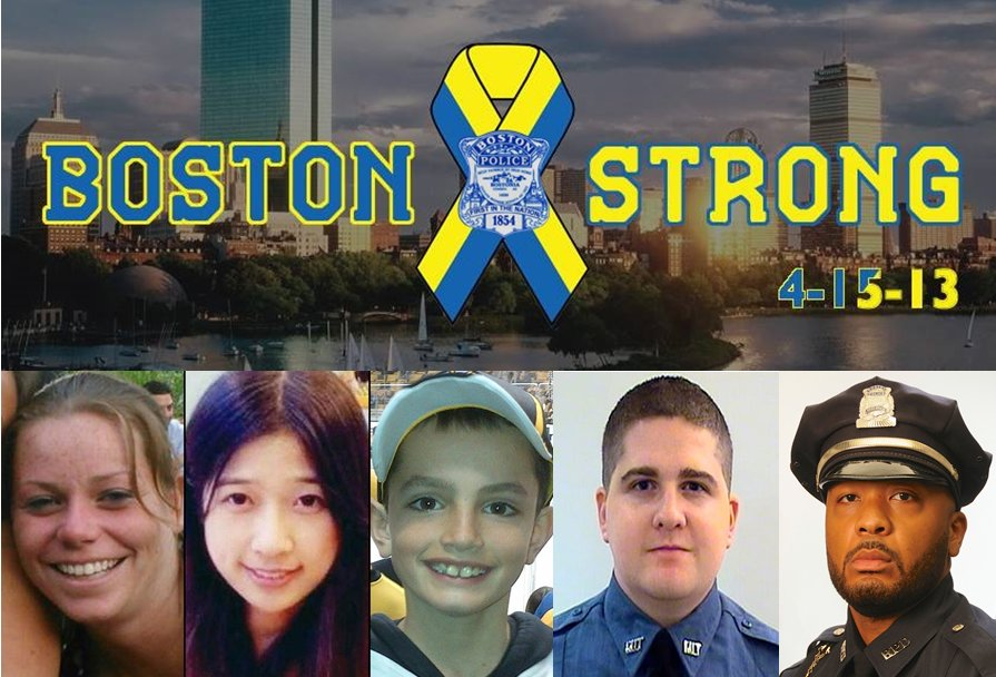Today, five years later on #OneBostonDay, we remember and pay tribute to those who lost their lives as a result of the #BostonMarathon bombings on 4/15/13. May we #NeverForget their sacrifice and always stay #BostonStrong.<br>http://pic.twitter.com/bsOwe6jJry