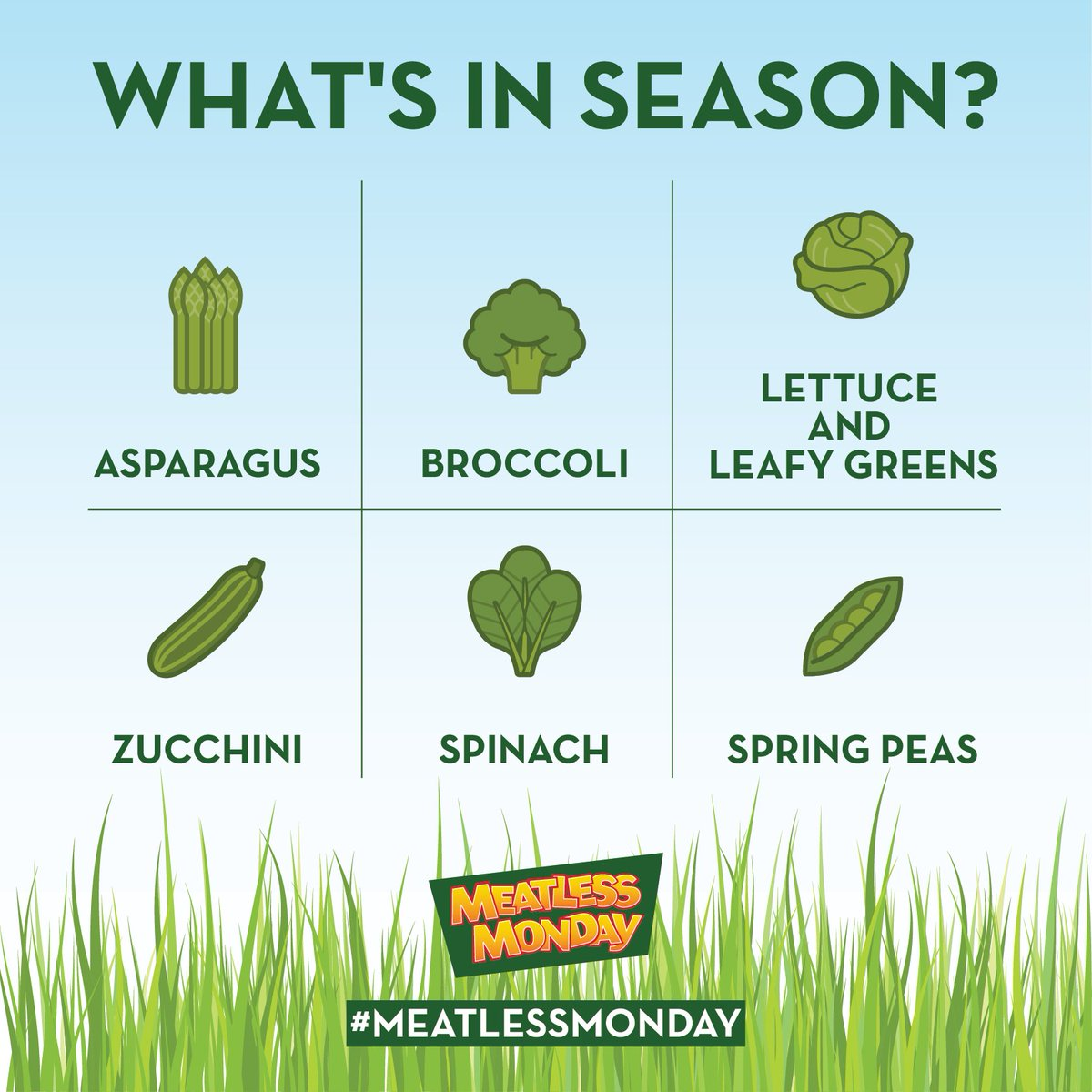 Stock up on these fresh green veggies for a seasonal #MeatlessMonday tomorrow! <br>http://pic.twitter.com/I9GWK1IvK5