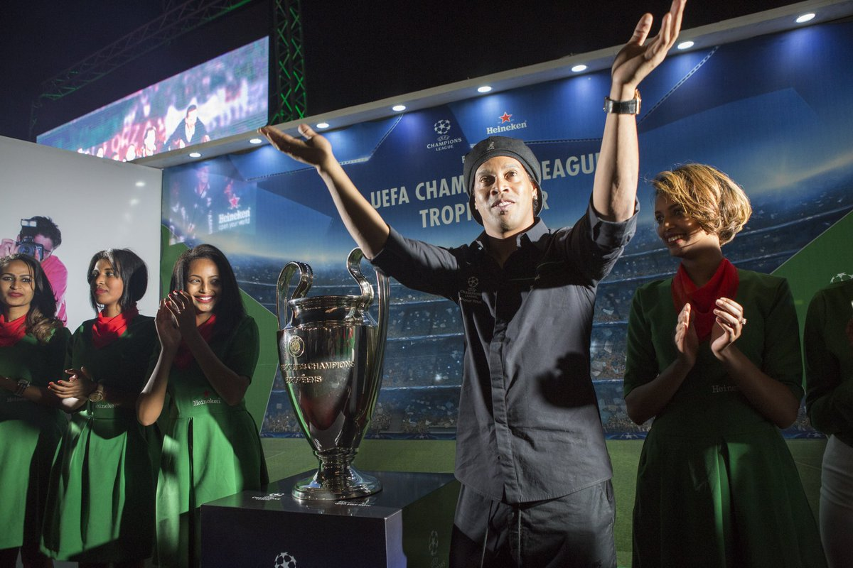 Hey... @10Ronaldinho 👏 if you're happy to be in #Ethiopia on the #UCLTrophyTour 🇪🇹🏆 #sharethetrophy