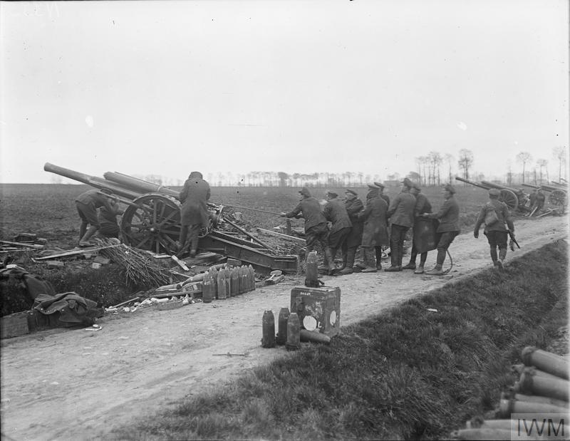 Apr British troops putting pounder Mark gun position Caestre