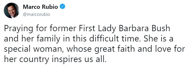 Moments ago, @marcorubio tweeted his thoughts and prayers for Barbara Bush and her family. https://t.co/r5WVAXzI0d https://t.co/FJ3lw43YR0