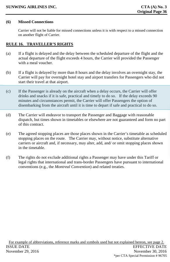 Air Passenger Rights On Twitter Sunwing Was Required By Law To