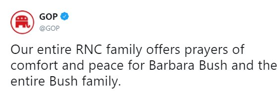 .@GOP offered their prayers for former First Lady Barbara Bush. https://t.co/RAbQTdncs1 https://t.co/OSSTOCh2j7