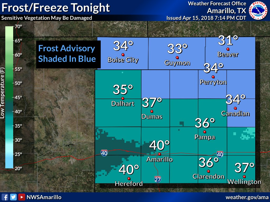 Sensitive vegetation may be damaged across northern parts of the forecast area tonight. #Frost #Freeze <br>http://pic.twitter.com/VMluqw9q7X