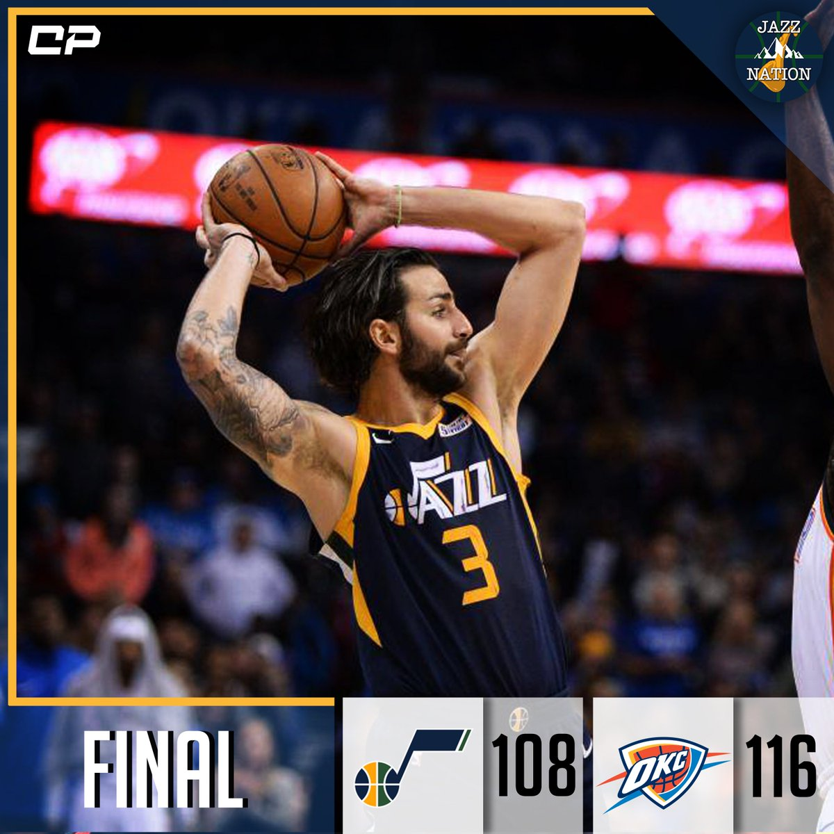 [FINAL] Jazz fall to Thunder, 116-108.  D. Mitchell: 27 PTS, 10 REB, 2 AST  HIGHLIGHTS: bit.ly/ClutchPoints