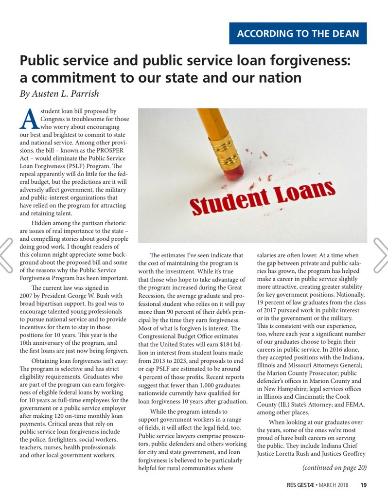 """... Public Service Loan Forgiveness: A Commitment to our State and our  Nation."""" https://issuu.com/res_gestae/docs/rg-march-2018/19 …"""