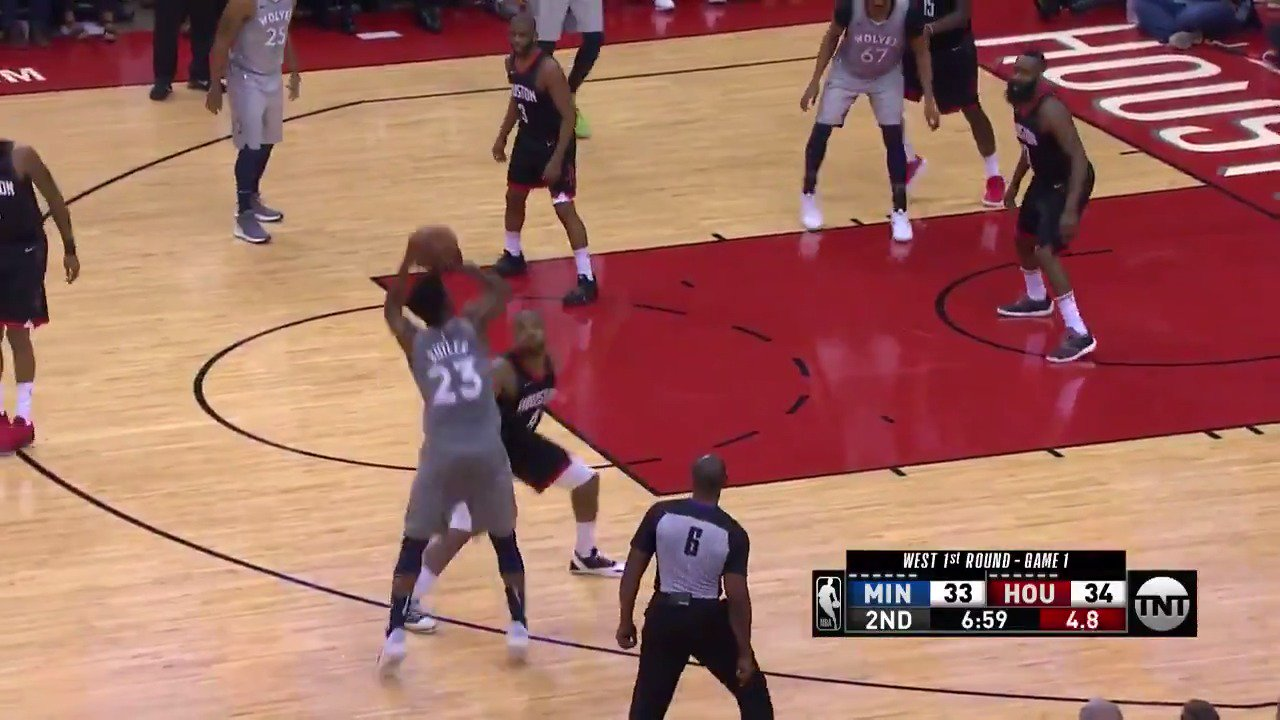 Jimmy Butler 3-ball! ������  @Timberwolves lead 38-36 in Q2 on @NBAonTNT   #AllEyesNorth https://t.co/3Sbng5HIBS