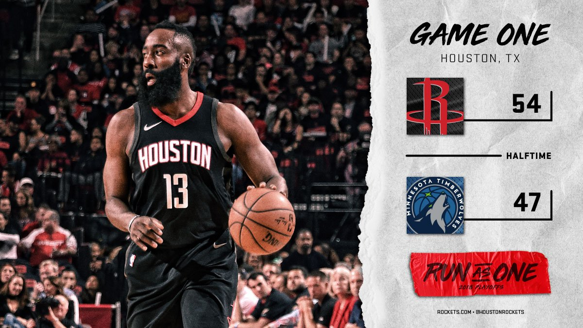 Rockets with the lead at halftime. #RunAsOne ��  �� @CapelaClint 20pts/10reb �� @JHarden13 19pts https://t.co/hN12LTmnLi