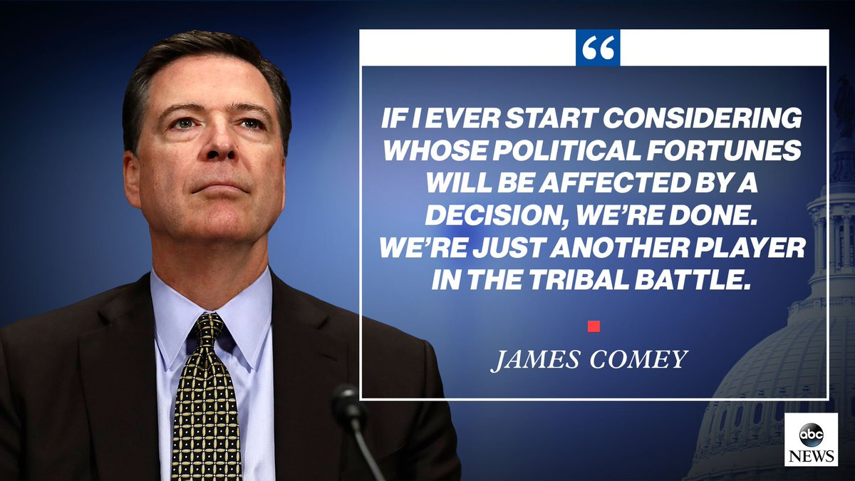 ".@GStephanopoulos: ""If you knew that letter would elect Donald Trump, youd still send it?""   @Comey: ""I would...If I ever start considering whose political fortunes will be affected by a decision, were done. Were just another player in the tribal battle. #Comey"
