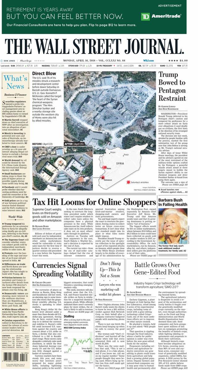 The Wall Street Journal's photo on Wall Street