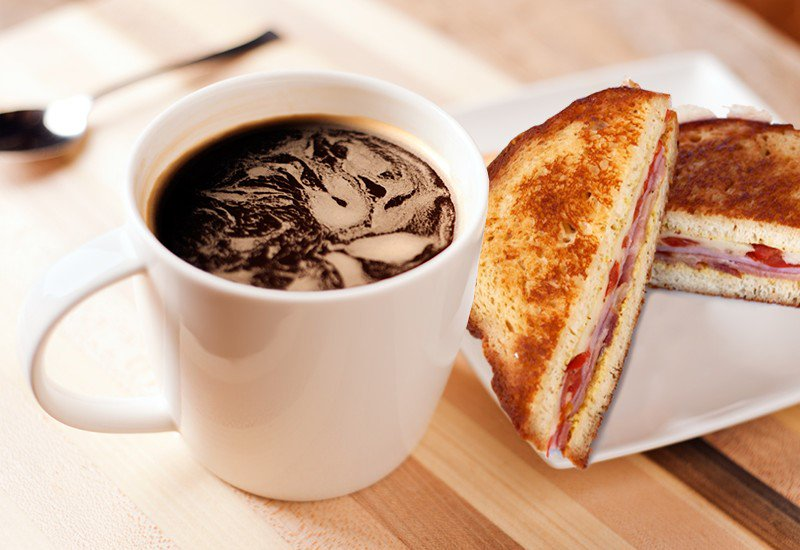 Картинка бутерброд с кофе