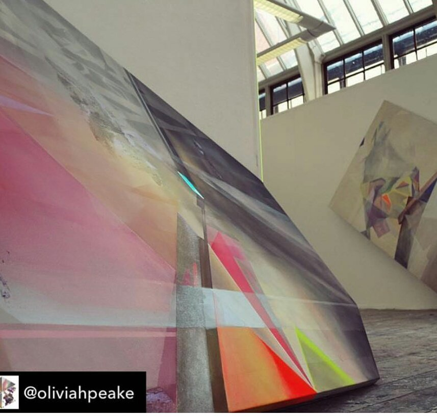 Olivia Peake&#39;s impressive shaped canvasses will be on show at #Make colour sing Abstraction now Pop up exhibition  N.S.A gallery Nottingham NG1 6DH May 8-13 <br>http://pic.twitter.com/dPItPdnzOg
