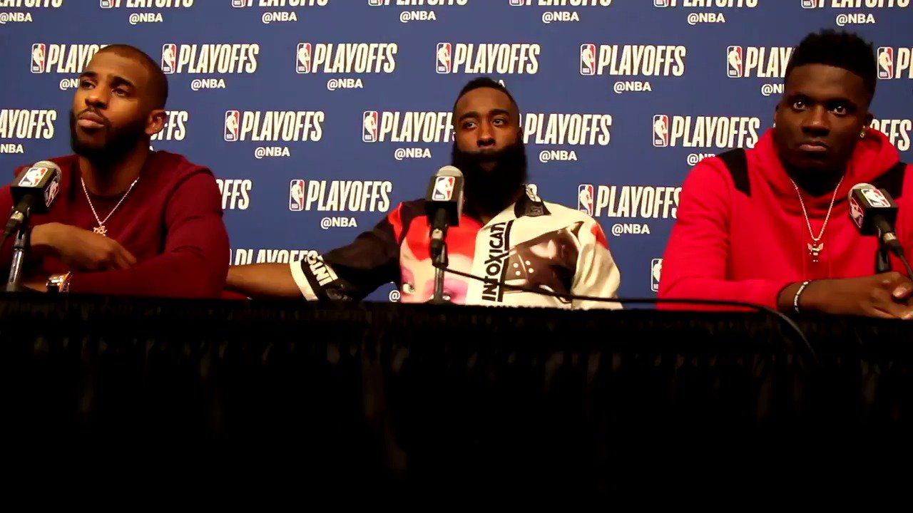 Hear from @JHarden13 @CapelaClint and @CP3 after last night's Game 1 win.   ��⤵️ https://t.co/RA8dRa8GRe