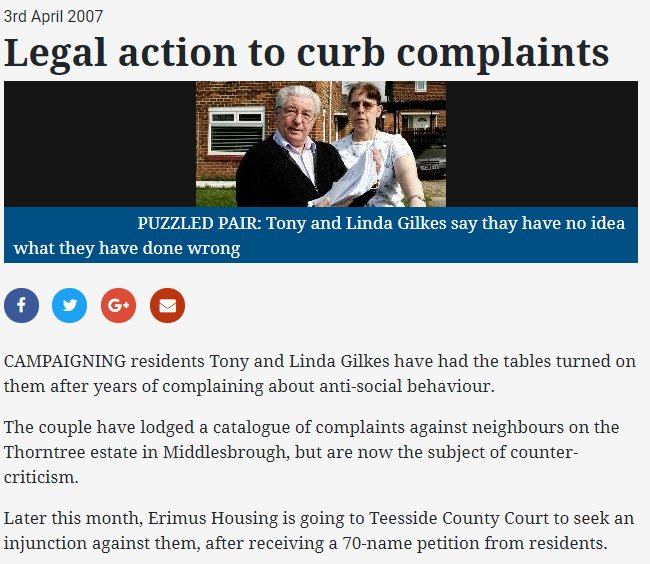 The meat pie couple once had an injunction taken out against them because they complained so much