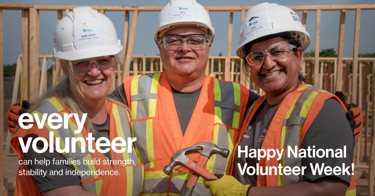 Happy #NationalVolunteerWeek! Our volunteers build in rain, snow and sunshine and we couldn&#39;t be more thankful for them! Here are just a few amazing volunteers from across the country, nominated by local Habitats:  http:// bit.ly/2IZDkuI  &nbsp;  <br>http://pic.twitter.com/rwrgIRAb47