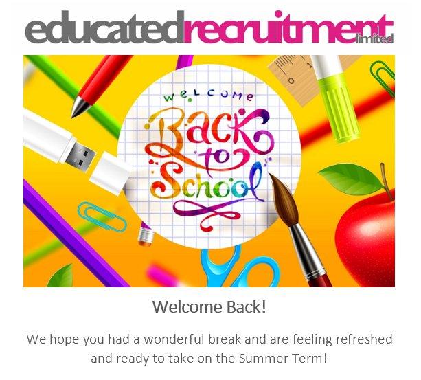 Welcome back to school!   #welcomeback #backtoschool #Back2School #summerterm #school #teachers #school #students #teach #education #supply #recruitment #supplyteacher   http://www. educatedrecruitment.co.uk  &nbsp;  <br>http://pic.twitter.com/fAd9CzR78n