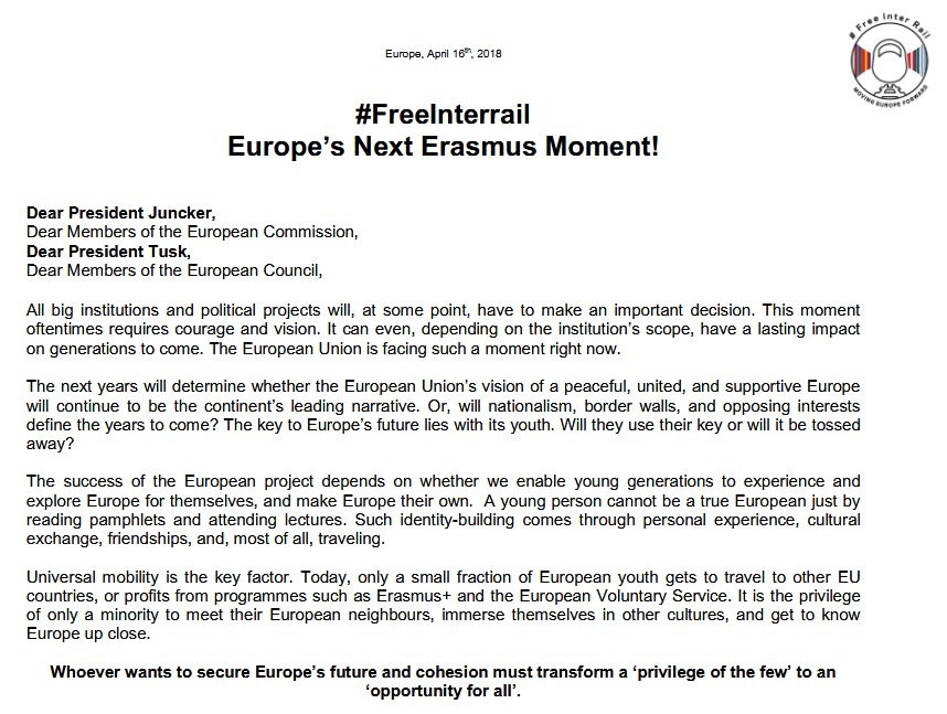 Die Aktivisten @HerrUndSpeer wenden sich in einem Brief an @JunckerEU + @eucopresident und fordern #FreeInterrail für 18-jährige EU-BürgerInnen.   Erstunterzeichner sind u.a. #PulseofEurope-Gründer Daniel Röder (@Leinadredoer) und @Si_Wagenknecht, Initiator von PoE in Berlin.
