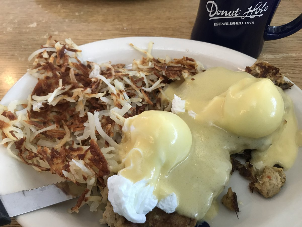 Happy National Eggs Benedict Day!!! I had this beautiful crab cake benedict at The Donut Hole in Destin. Who has the best Benedict in Atlanta? #NationalEggsBenedictDay <br>http://pic.twitter.com/zAL2OOxIQo